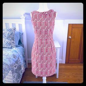 Boden Red Geometric Print Martha Dress-NWOT